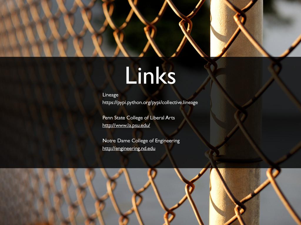 Links Lineage https://pypi.python.org/pypi/coll...