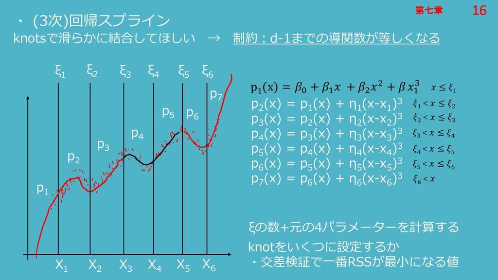 16 第七章 16 第七章 ・ (3次)回帰スプライン knotsで滑らかに結合してほしい →...