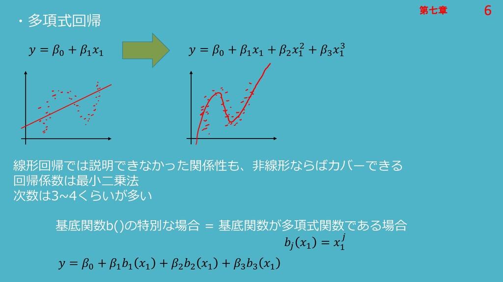 6 第七章 6 第七章 ・多項式回帰  = 0 + 1 1  = 0 + 1 1 + 2 1 ...