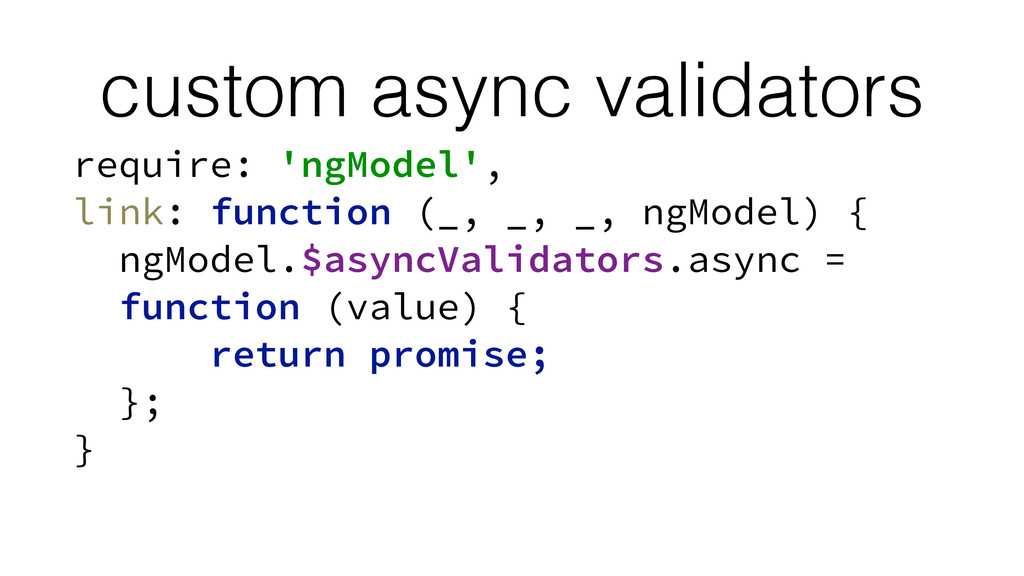 custom async validators require: 'ngModel', lin...