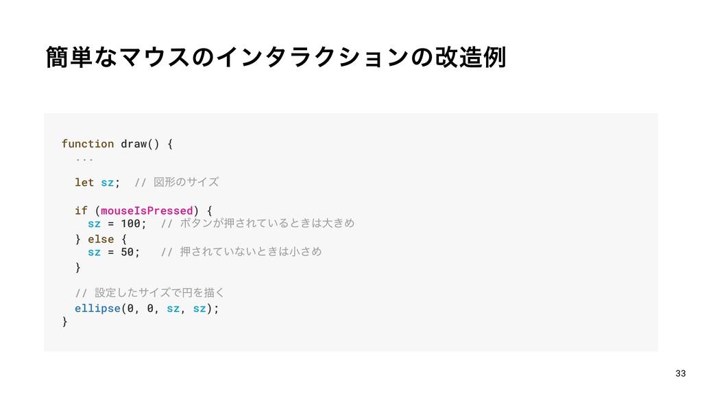 ؆୯ͳϚεͷΠϯλϥΫγϣϯͷվྫ 33 function draw() { ... le...