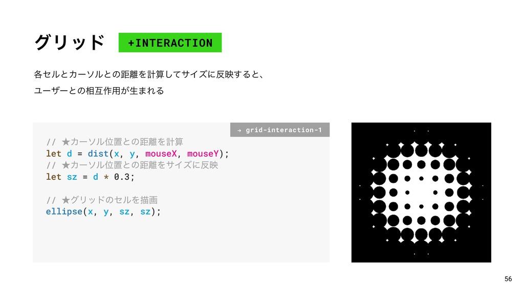 άϦου +INTERACTION 56 ֤ηϧͱΧʔιϧͱͷڑΛܭͯ͠αΠζʹө͢Δͱ...