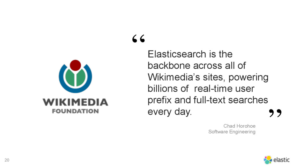20 Elasticsearch is the backbone across all of ...