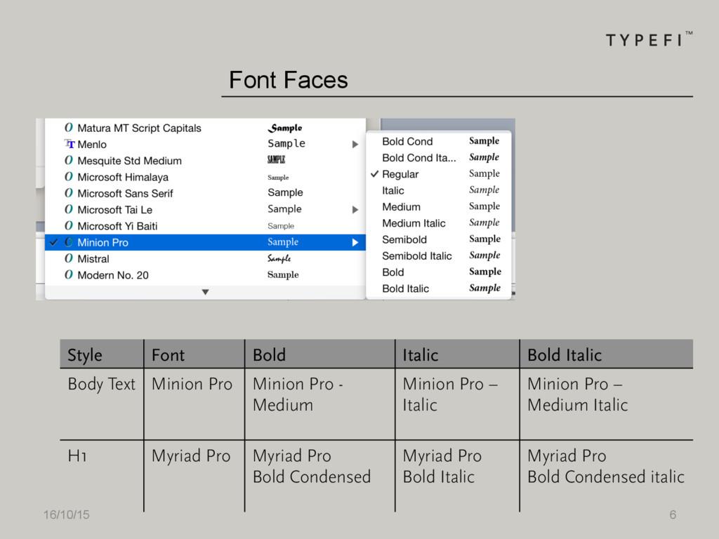 16/10/15 6 Font Faces Style Font Bold Italic Bo...