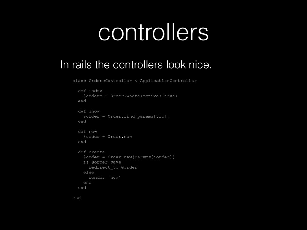 controllers In rails the controllers look nice....