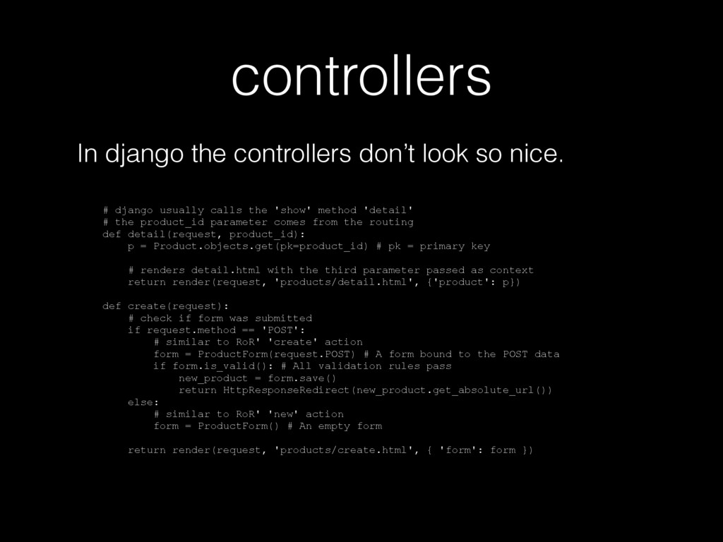 controllers In django the controllers don't loo...