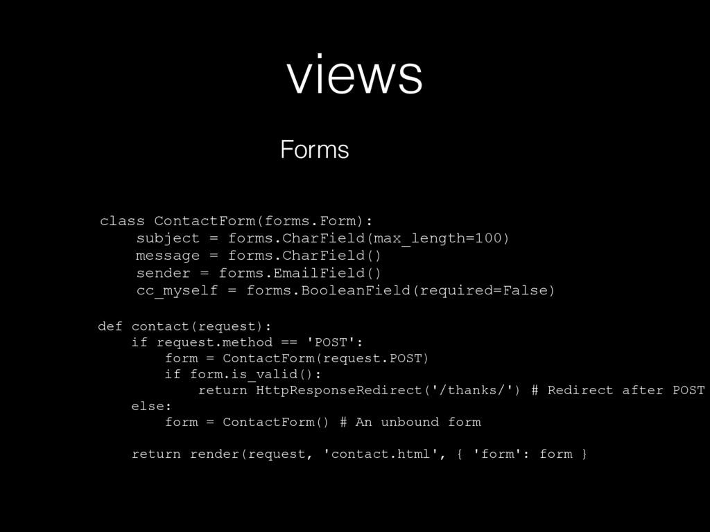 views Forms class ContactForm(forms.Form): subj...