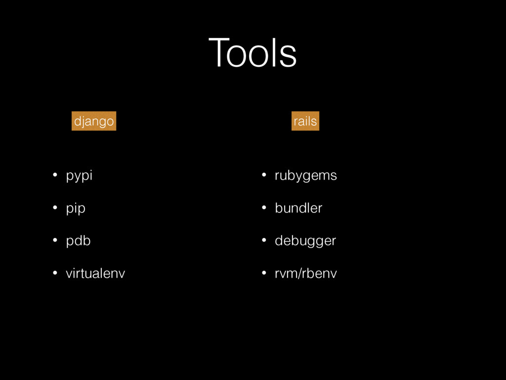 Tools • pypi • pip • pdb • virtualenv • rubygem...