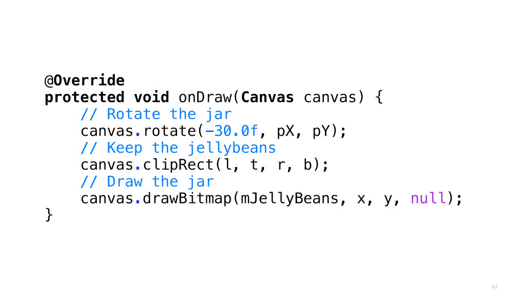 61 @Override protected void onDraw(Canvas canva...
