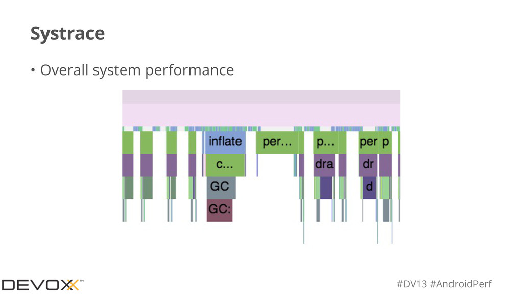 #DV13 #AndroidPerf Systrace • Overall system pe...