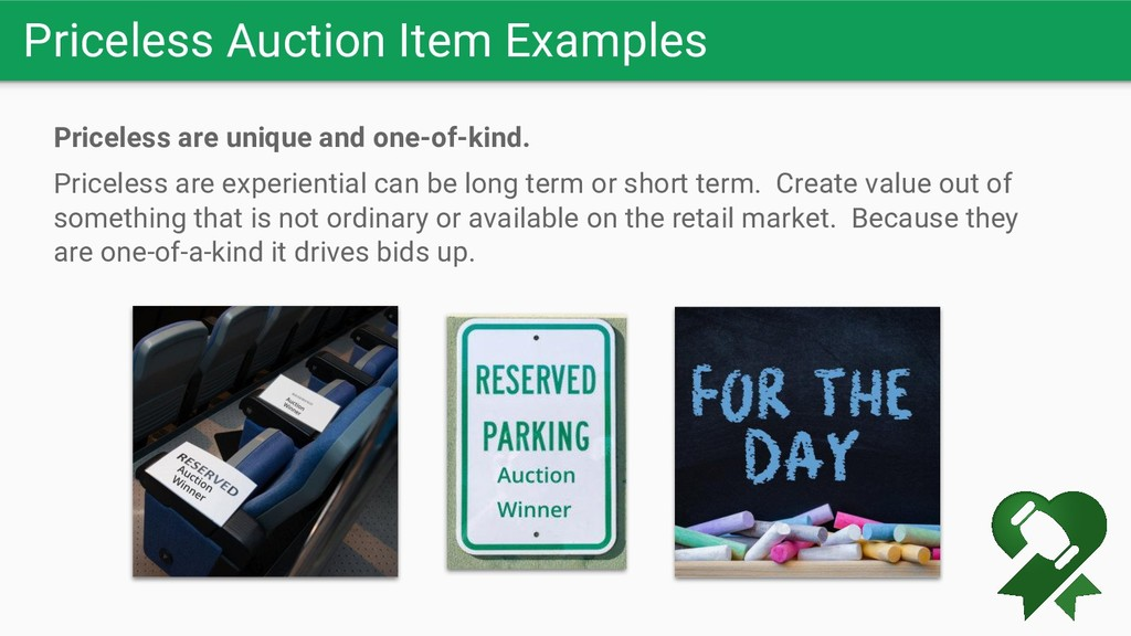 Priceless Auction Item Examples Priceless are u...