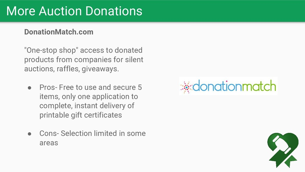 "More Auction Donations DonationMatch.com ""One-s..."