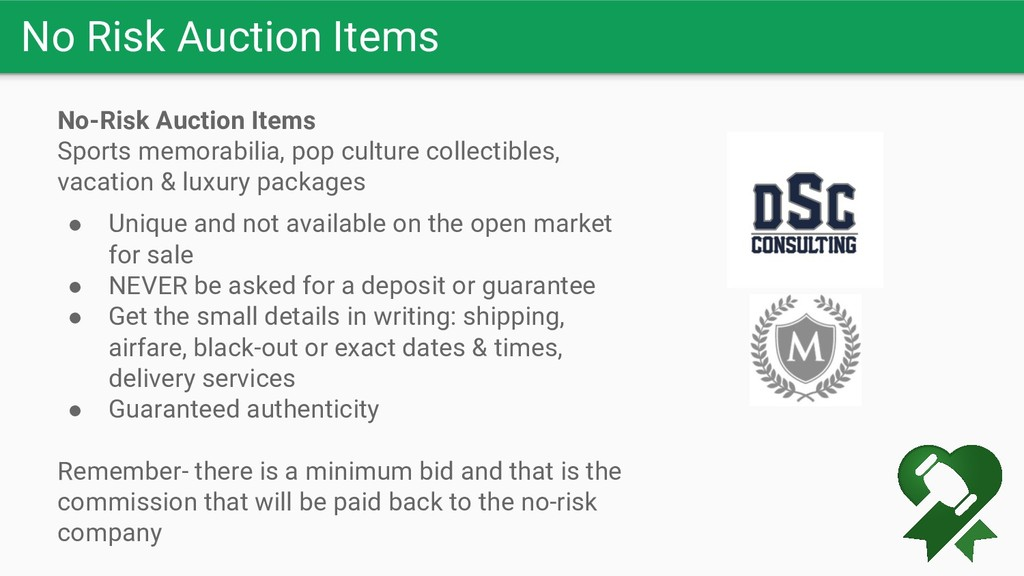 No Risk Auction Items No-Risk Auction Items Spo...
