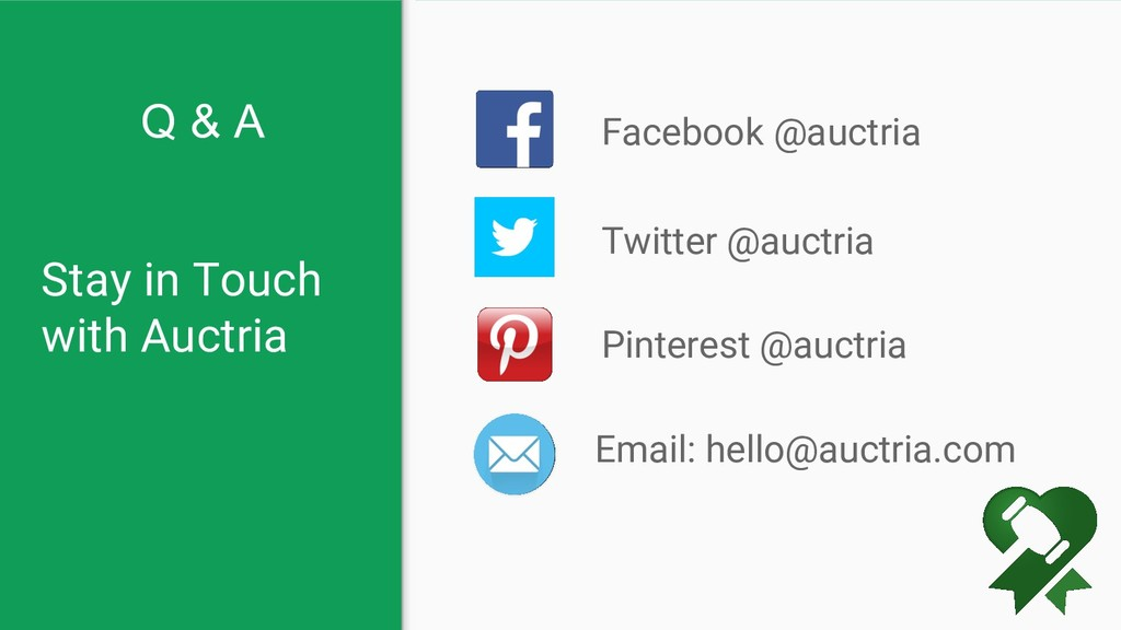 Stay in Touch with Auctria Facebook @auctria Em...