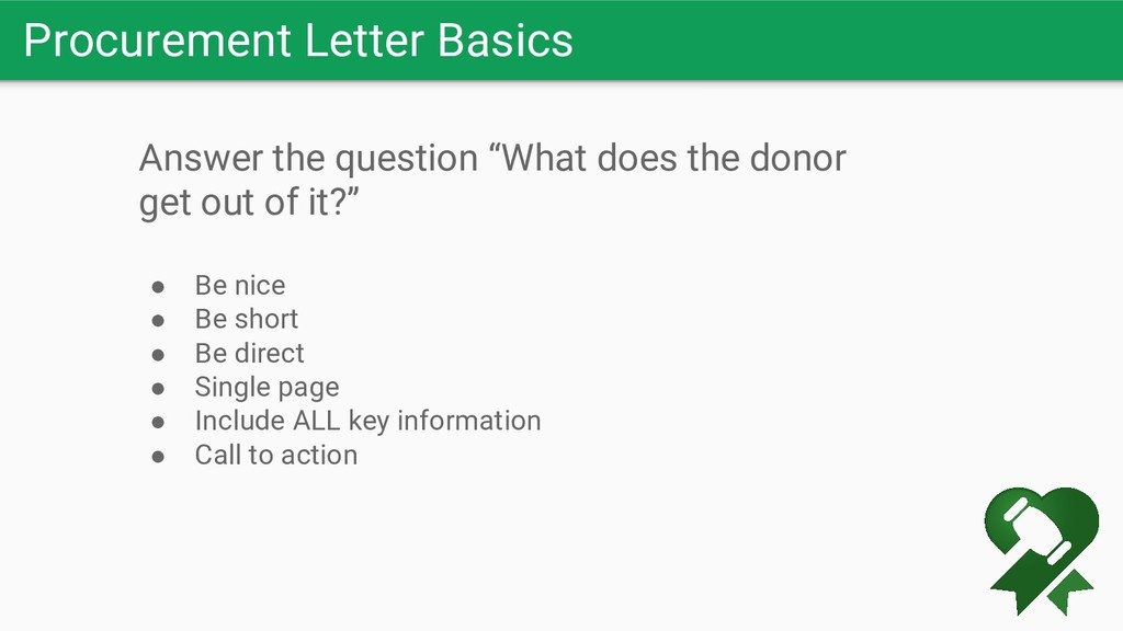 "Procurement Letter Basics Answer the question ""..."