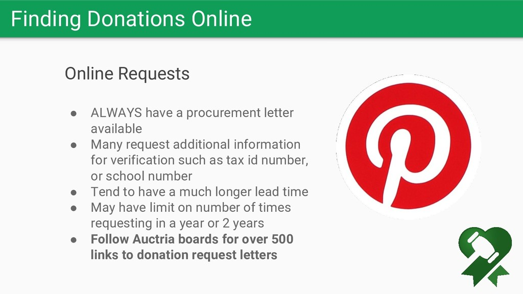 Finding Donations Online Online Requests ● ALWA...