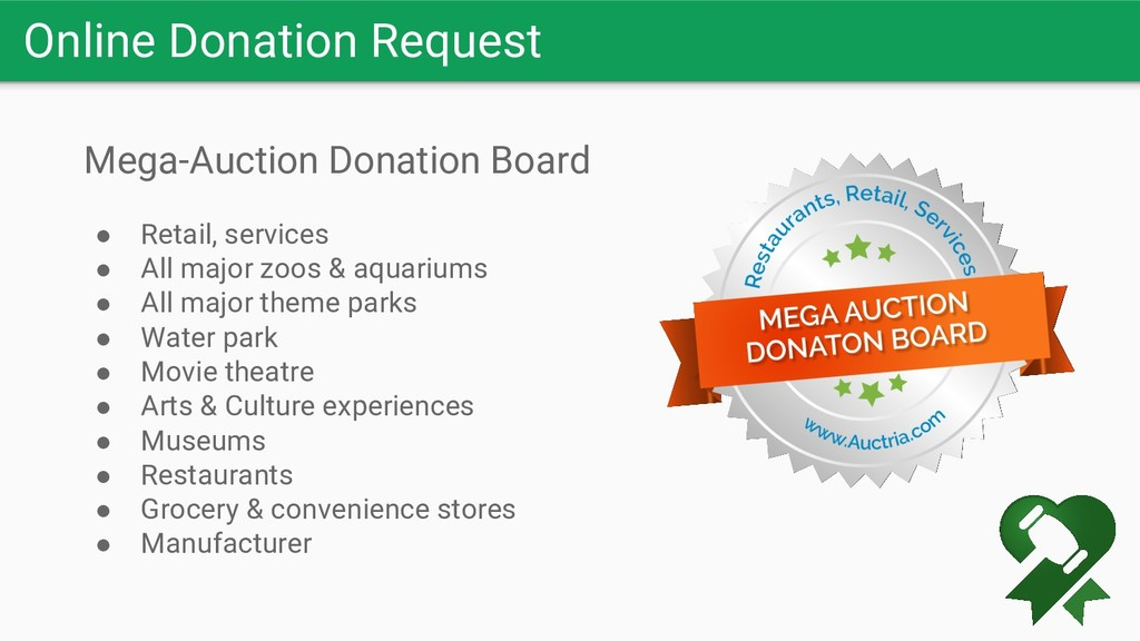 Online Donation Request Mega-Auction Donation B...