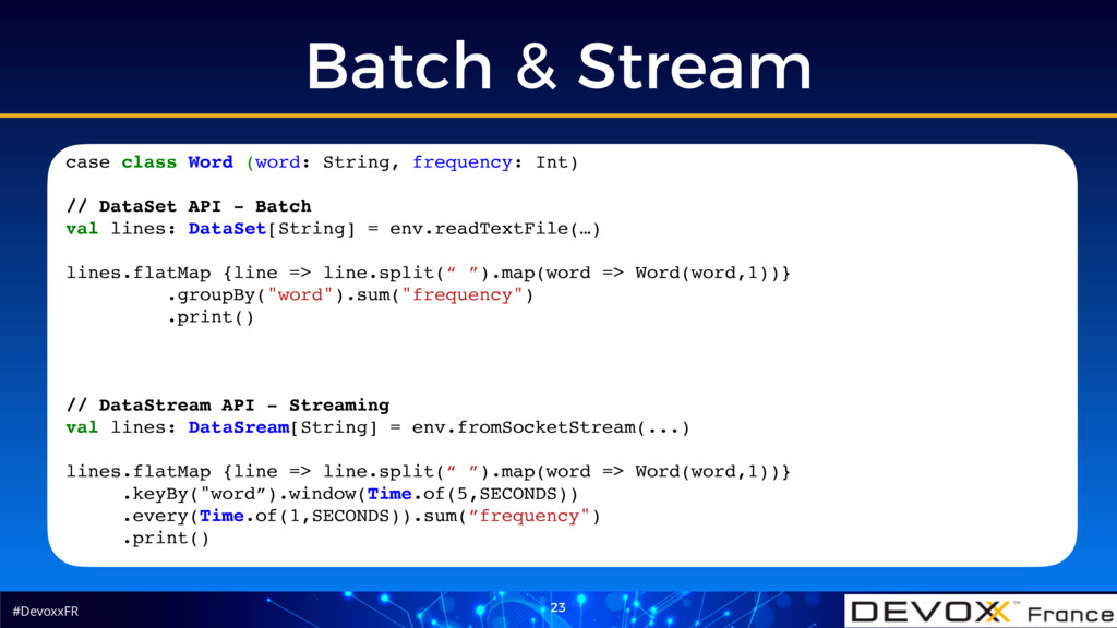 #DevoxxFR Batch & Stream 23 case class Word (wo...