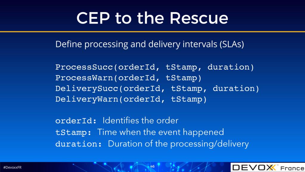 #DevoxxFR CEP to the Rescue 46 Define processing...