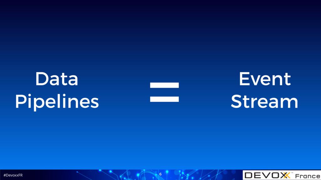 #DevoxxFR 6 Event Stream = Data Pipelines