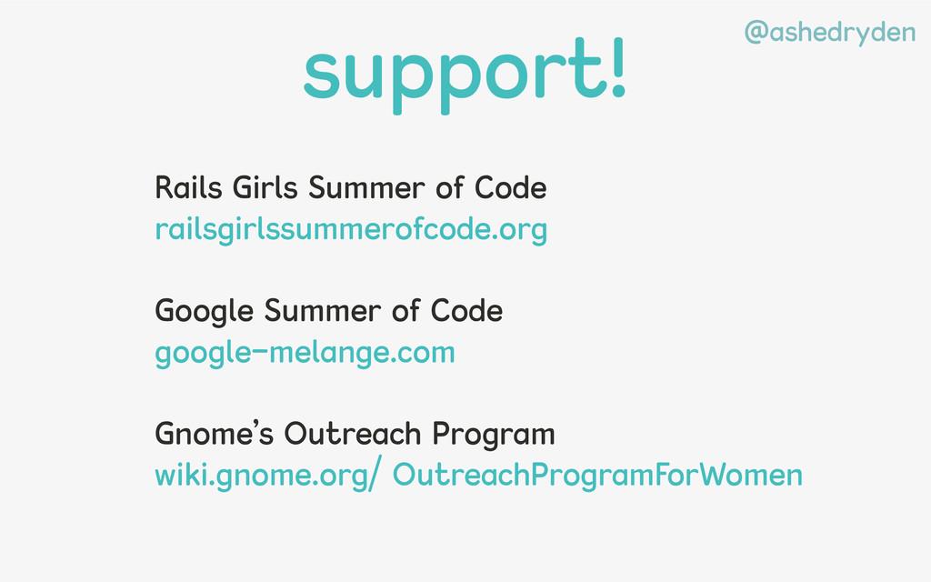 @ashedryden support! Rails Girls Summer of Code...