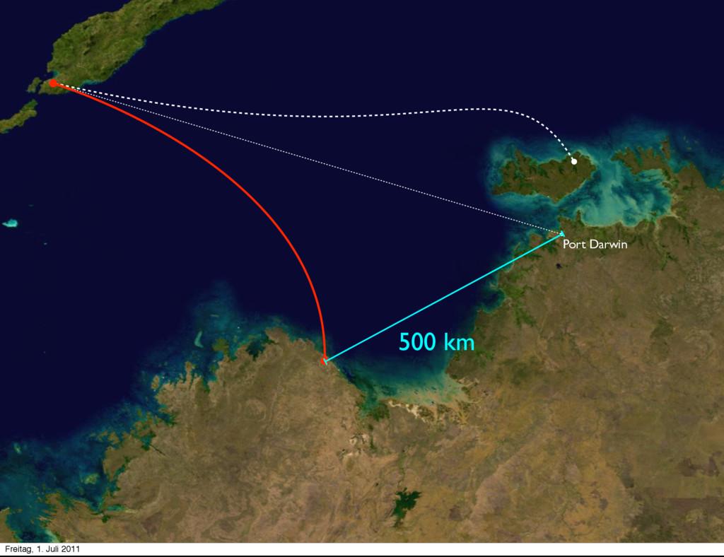 500 km Port Darwin Freitag, 1. Juli 2011