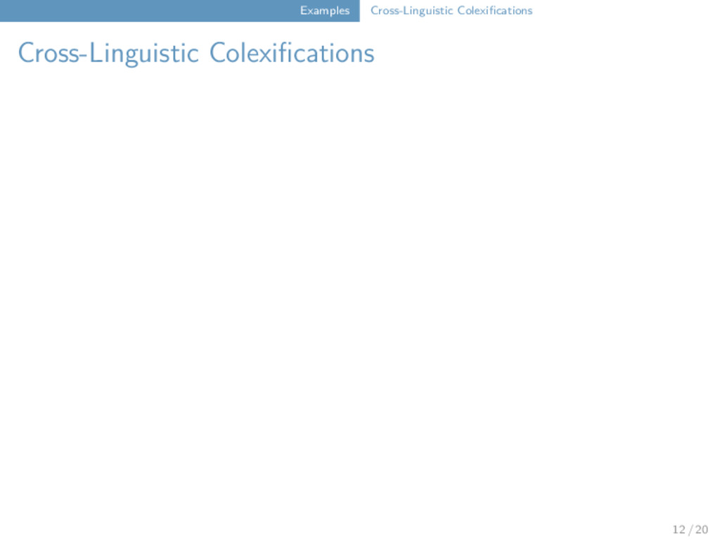 Examples Cross-Linguistic Colexifications Cross...
