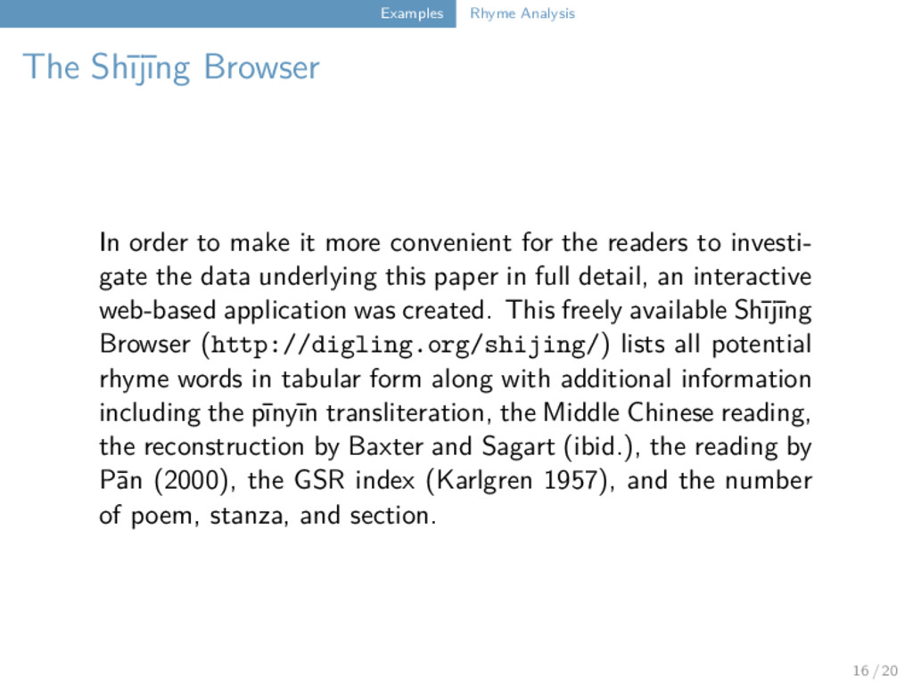 Examples Rhyme Analysis The Shījīng Browser In ...