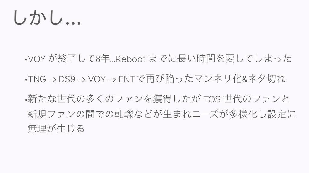 ͔͠͠... •VOY ͕ऴྃͯ͠8...Reboot ·Ͱʹ͍ؒΛཁͯ͠͠·ͬͨ •T...