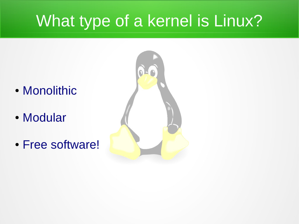 What type of a kernel is Linux? ● Monolithic ● ...