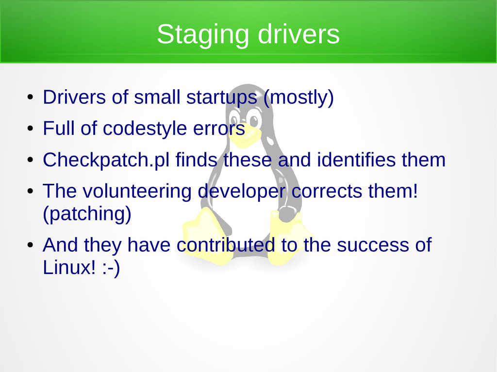 Staging drivers ● Drivers of small startups (mo...