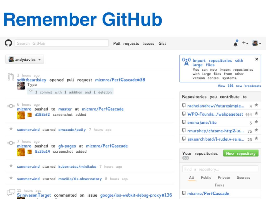 Remember GitHub