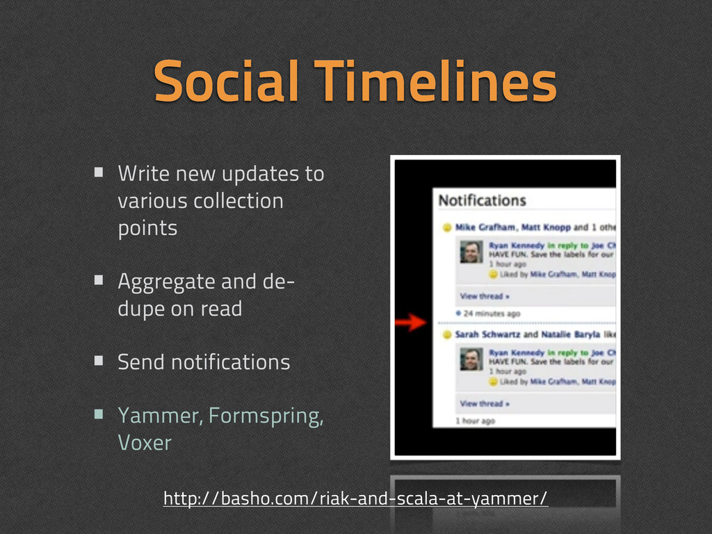 Social Timelines • Write new updates to various...