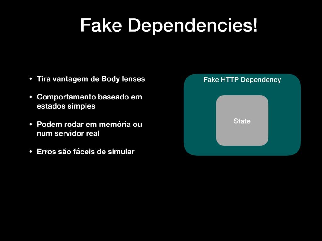 Fake Dependencies! Fake HTTP Dependency State •...