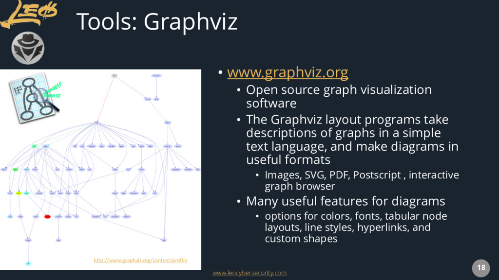www.leocybersecurity.com 18 Tools: Graphviz • w...