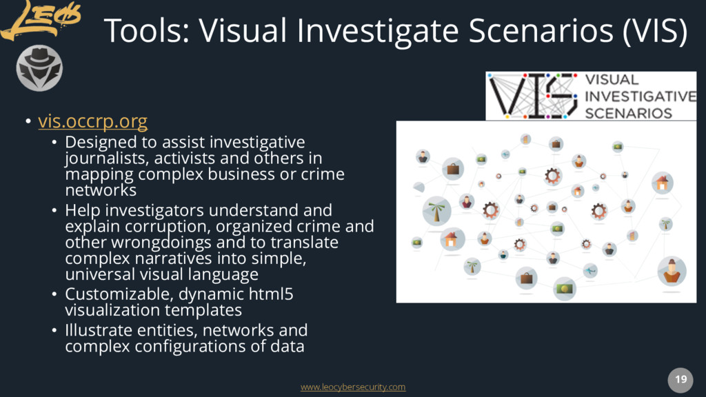 www.leocybersecurity.com 19 Tools: Visual Inves...