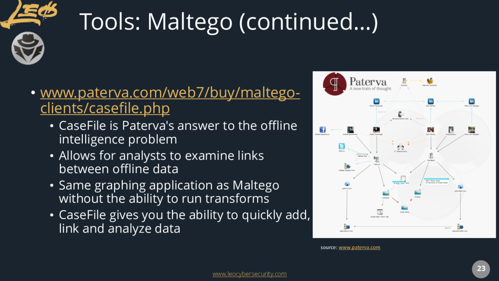 www.leocybersecurity.com 23 Tools: Maltego (con...