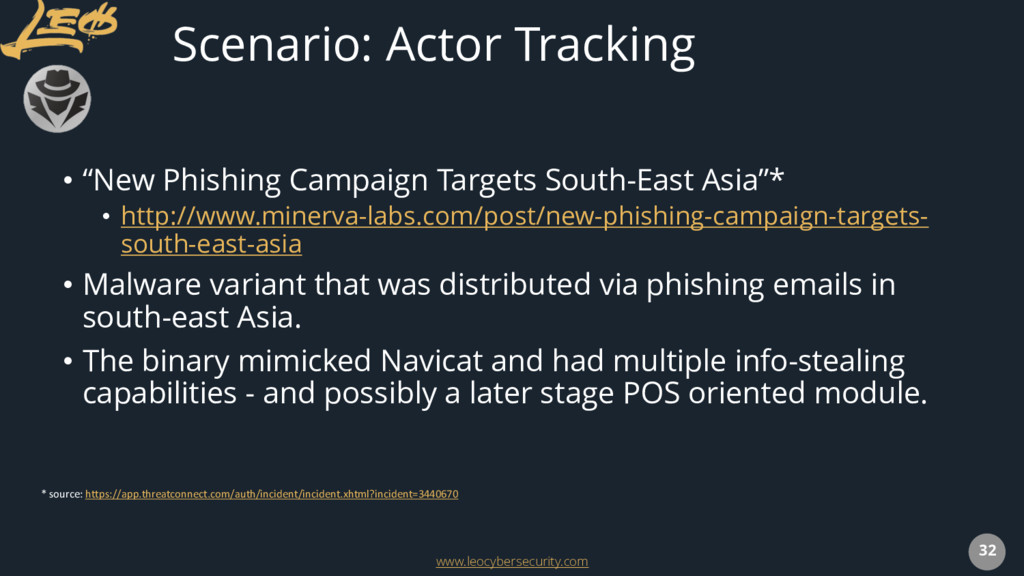 www.leocybersecurity.com 32 Scenario: Actor Tra...