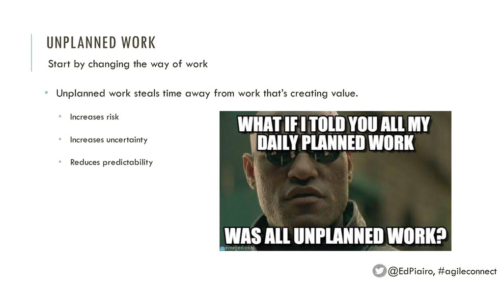 UNPLANNED WORK Start by changing the way of wor...