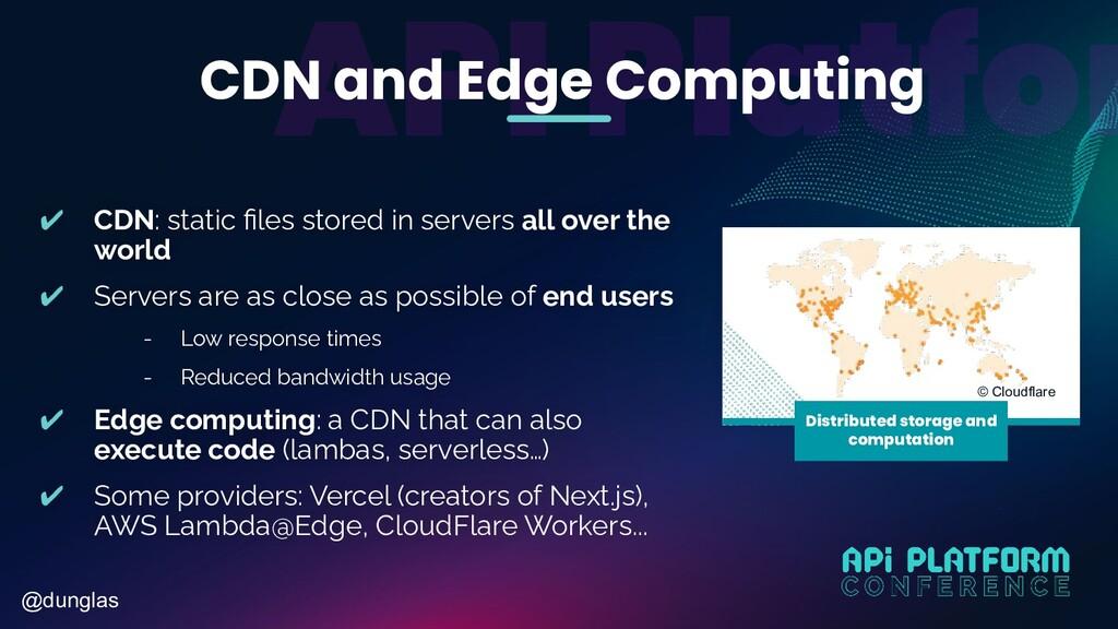 @dunglas CDN and Edge Computing ✔ CDN: static fi...