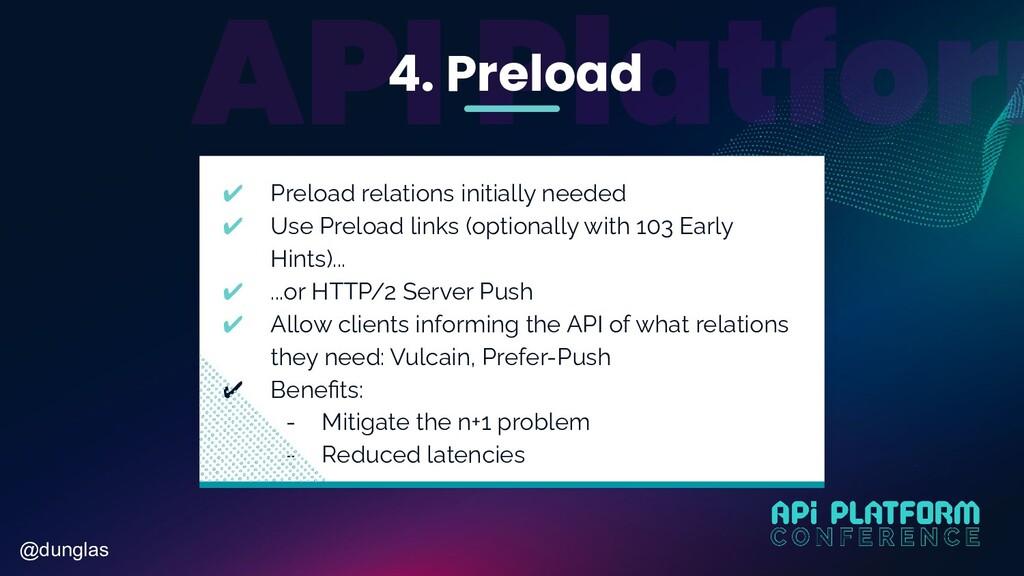 @dunglas 4. Preload ✔ Preload relations initial...