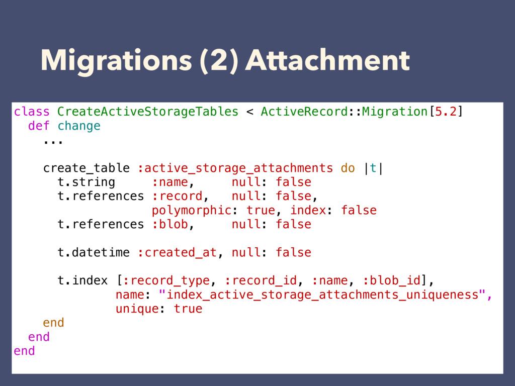 Migrations (2) Attachment class CreateActiveSto...
