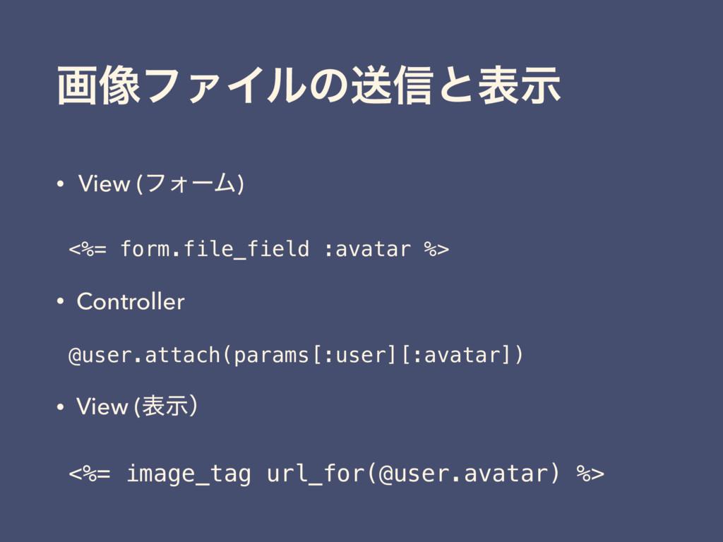 ը૾ϑΝΠϧͷૹ৴ͱදࣔ • View (ϑΥʔϜ) <%= form.file_field ...