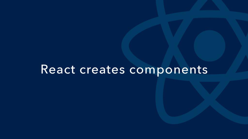 React creates components