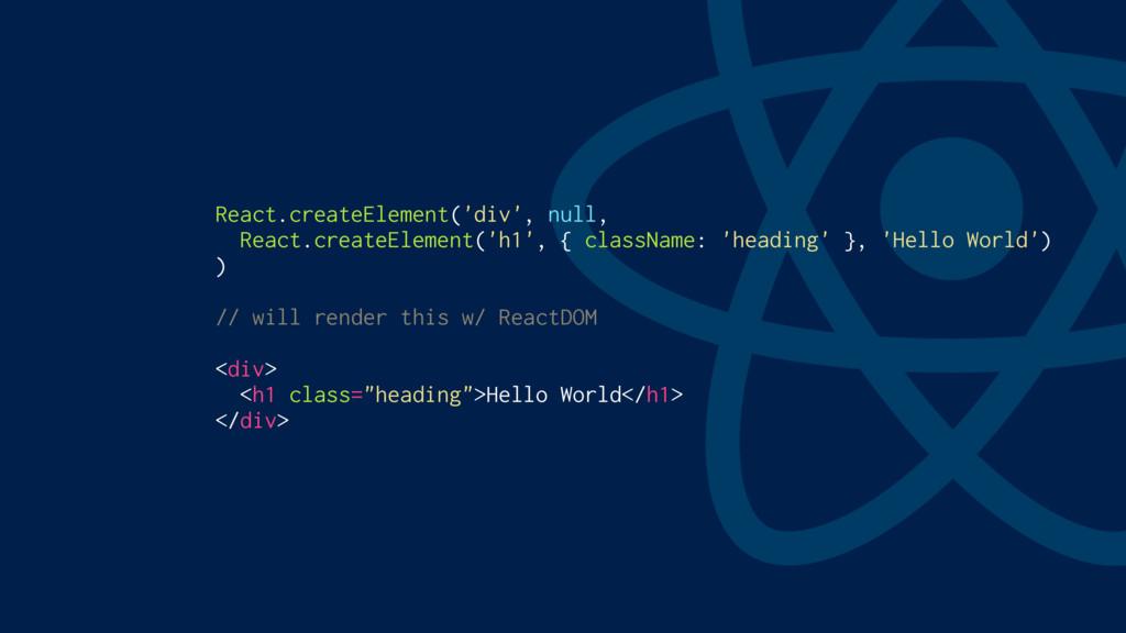React.createElement('div', null, React.createEl...