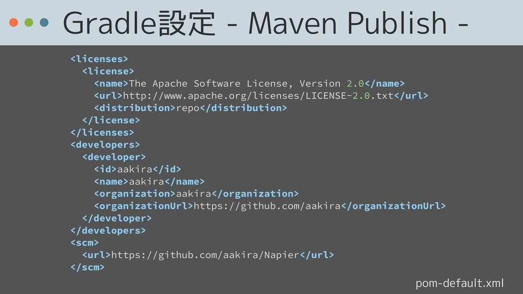 Gradle設定 - Maven Publish - pom-default.xml <lic...