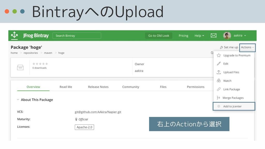 BintrayへのUpload 右上のActionから選択