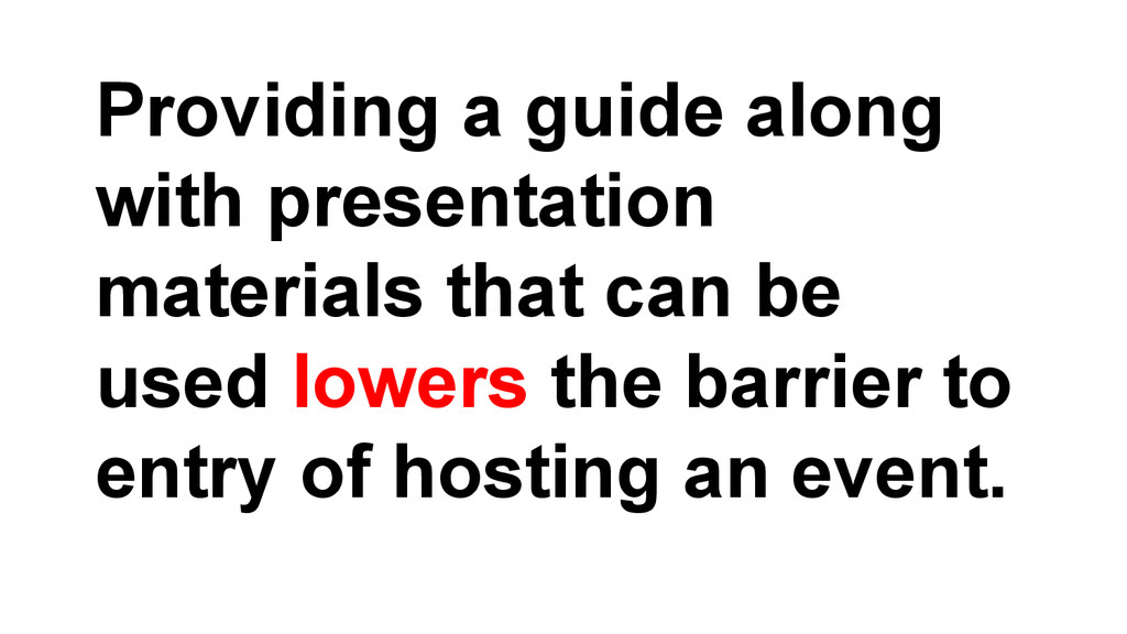 Providing a guide along with presentation mater...