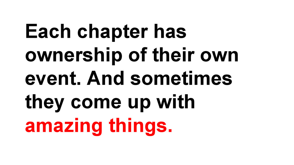 Each chapter has ownership of their own event. ...