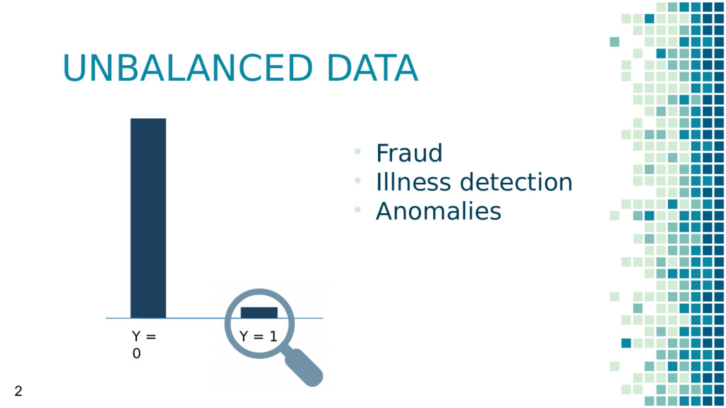UNBALANCED DATA • Fraud • Illness detection • A...
